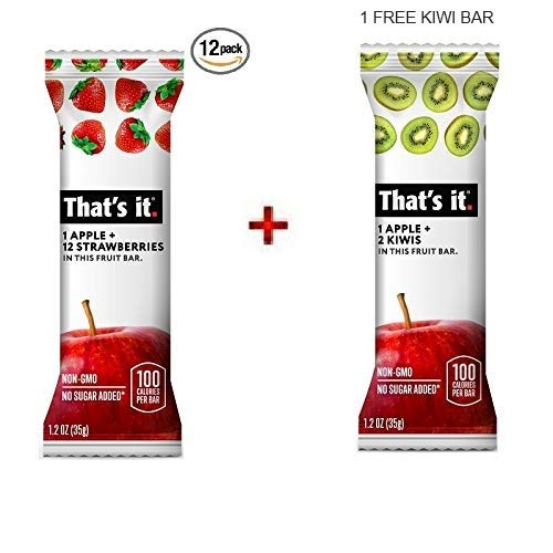 Thats it. Apple 100% Natural Real Fruit Bar, Best High Fiber Vegan, Gluten Free Healthy Snack, Paleo for Children & Adults, Non GMO No Sugar Added, No Preservatives Energy Food (Strawberry, 12 Pack)