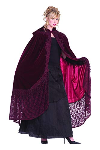 - Forum Novelties Victorian Cape with Lace, Burgundy, One Size