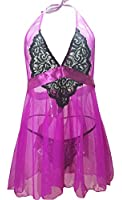 IYISS Sheer Mesh & Lace Halter Babydoll Lingerie with G-string