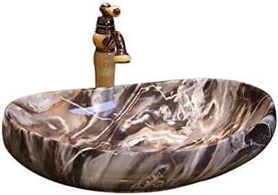 マーブル柄のアートの上カウンター盆地オーバル洗面セラミック洗面台コンチネンタルステージ洗面(64x42.5x16cm) P3/23