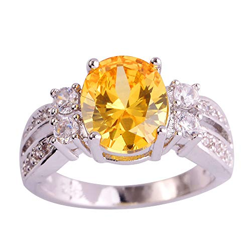 PAKULA Silver Plated Women Oval Cut Simulated Citrine Split Shank Band Ring Size 11