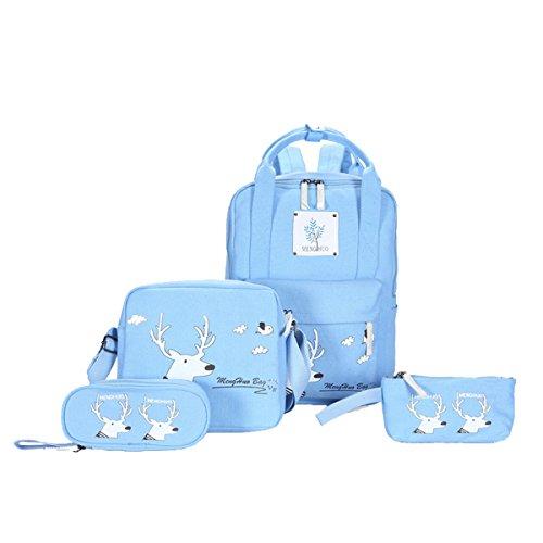 Moonwind Canvas Girls Backpacks Shoulder Book Bags Handbag for School Teen Set (Luminous Deer, Luminous Deer-Blue) by Moonwind