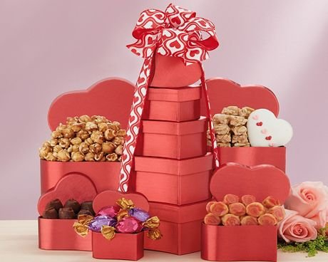 Valentine Tower of Hearts Gift Basket