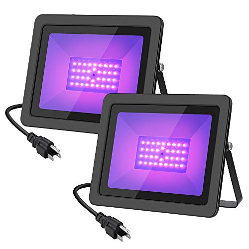 WELKEY PLUS 2 Pack 50W UV LED Black Light Flood Light with Plug(6ft Cable), IP66 Waterproof, for Blacklight Party, Stage Lighting, Aquarium, Body Paint, Fluorescent Poster, Neon Glow, Glow in -