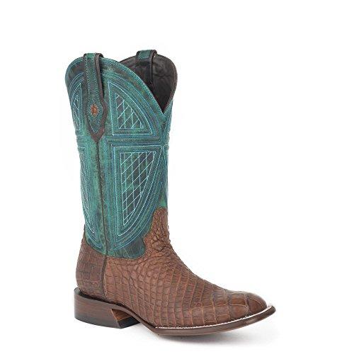 Stetson Menns Tobakk Alligator Vamp Grønn 13shaft Big Horn Western Cowboy Boot Størrelse 11ee