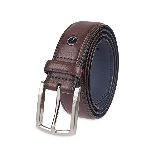 Nautica Mens Feathered Edge with Double-Stitch Casual Leather Belt