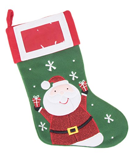 "Picture Frame Christmas Stocking by Clever Creations | Happy Santa Design | 4""x 6"" Frame on Cuff with Embroidered Details 