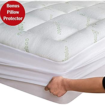 Niagara Sleep Solution Bamboo Mattress Topper Cover Queen with Bonus Pillow ProtectorCooling Pillow Top Mattress Pad Breathable Extra Plush Thick Fitted 8-21Inches Rayon Cooling Fabric Ultra Soft