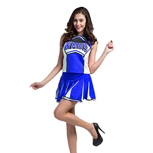 Ladies Sexy Varsity High School Cheer Girl Sexy Cheerleader Costume Uniform Halloween Fancy Dress Costume (L, Blue2) ()