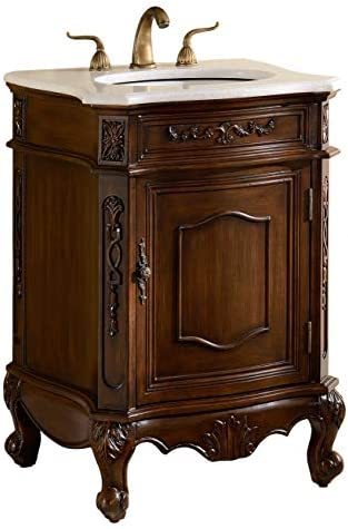 24 Debellis Antique Bathroom Sink Vanity Cabinet w/Matching Mirror BWV-047W-MIR