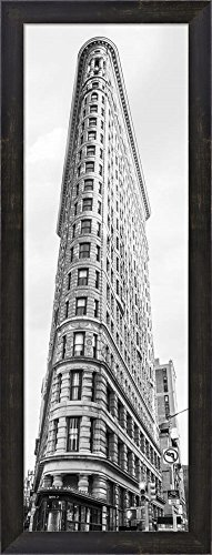 Flatiron Building, NYC Framed Art Print Wall Picture, Espresso Brown Frame, 11 x 29 inches ()