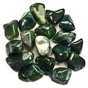 1Lb Bulk Tumbled Green Moss Agate Stones (0.5 - 1.25 Inch) For Wicca, Reiki, Healing, Metaphysical, Chakra, Positive Energy, Lucky Feng Shui, Meditation, Protection, Powers, Decoration Or Gift (Green Stone Agate)