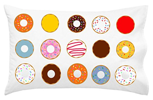 Oh, Susannah Cute Donut Pillowcase - Fun Sleepable Colorful Donuts (One 20x30 inch Standard/Queen Size Pillow Case) Kids Room Decor