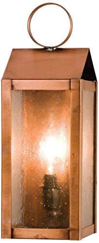 - Meyda Tiffany Custom Lighting 26935 Revere 1-Light Exterior Wall Lantern, Raw Copper Finish with Clear Seedy Glass