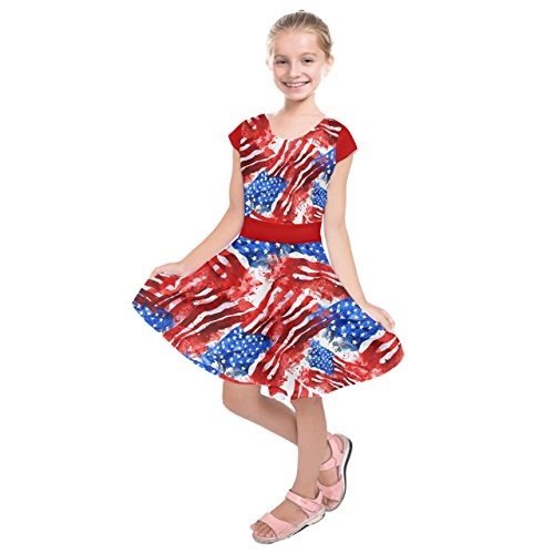 Usa Red Water - PattyCandy Girl's Blue and Red Watercolor USA Kids' Short Sleeve Dress - 6