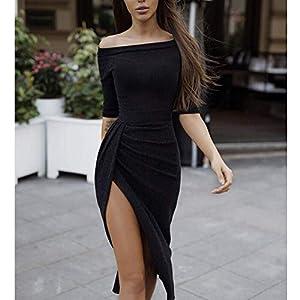ONine Women Off Shoulder Ruched Metallic Knit High Slit Evening Party Cocktail Dress, Black L