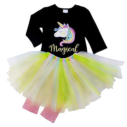 So Sydney Toddler Girls 3 Pc Unicorn Print Tunic Top, Leggins, Infinity Scarf Tutu Outfit (XL (6), Pastel with Tutu)