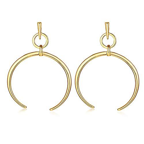 - ANDANTINO Stainless Steel Earring- Women's Geometric Long Ear Hook-Tassel Earrings-Bar/Square/Triangle Asymmetrical Dangle Earring Gold Plated Ear Stud- Gift for Girls (Gold Circle Hoop Ear Stud)