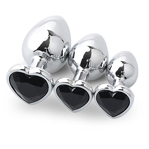 HSAMER 3 Pcs 3 Size Heart Shaped Rose Jewelry Aluminum Alloy A-nal B-UTT P-Lug Birth Stone Stimulation Trainer Kits Beginner Exercise Toy for Man Women H002 by HSAMER