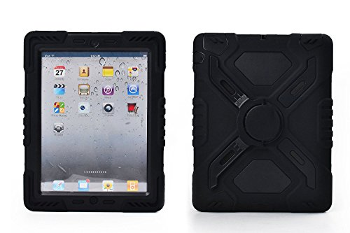 Ipad 2/3/4 Case  Plastic Kid Proof Extreme Duty Dual Protective Back Cover with Kickstand and Sticker for Ipad 4/3/2 - Rainproof Sandproof Dust-proof