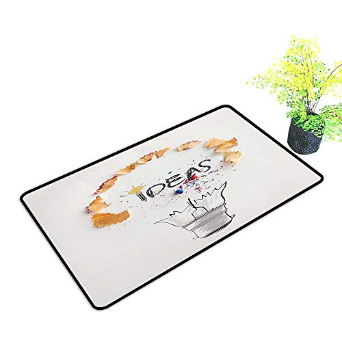 Entrance Door Mat Large Hand Drawn Light Bulb Word Design IDEA with Pencil Saw dust on Paper Background as Creative Concept Dress Up Your Doorway W39 x H19 INCH