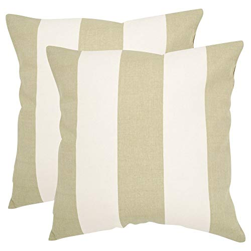 Safavieh Pillows Collection Sally Decorative Pillow, 22-Inch, Sage, Set of 2 - Awning Stripe Bedding