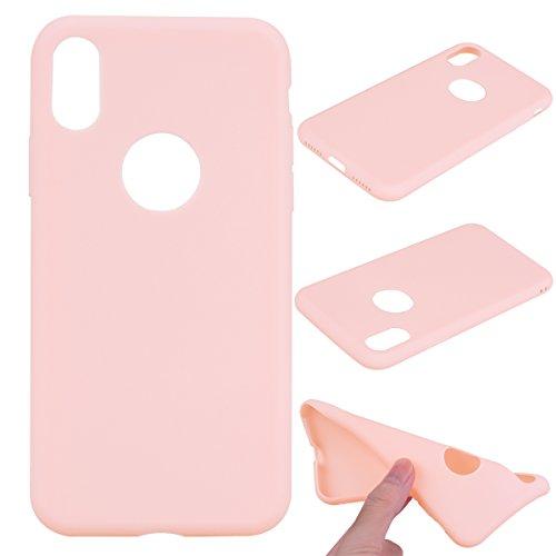 iPhone X Custodia , Leiai Moda Rosa Peso Leggero Soft Silicone Morbido TPU Cover Case Shell Custodia per Apple iPhone X