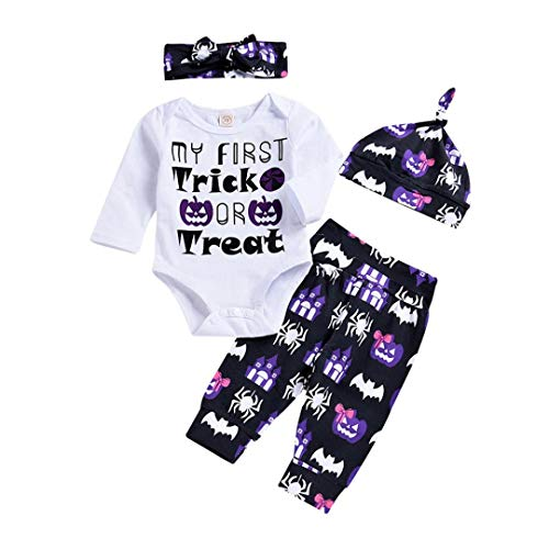 Infant Fashion Long Sleeve Halloween Clothes - vermers Baby Letter Printed Romper Pants Costume Outfits 2Pcs Set(3M, White)