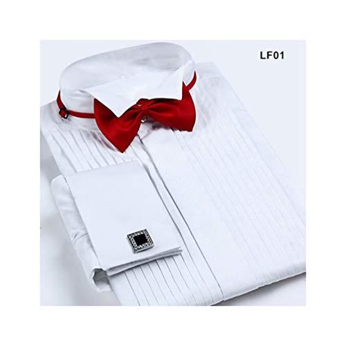 (XJLE Shirt Men's Cuffs Tuxedo Pointed Collar Long Sleeve Formal Groom Dress Shirt(,CZLF01,Asian-Size-S))