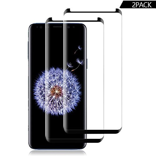 [2 – Pack] Samsung Galaxy S9, Huritan [Case Friendly] [Anti-Scratch][Anti-Fingerprint][Bubble Free] Screen Tempered Glass Screen Protector for Samsung Galaxy S9 (Black)