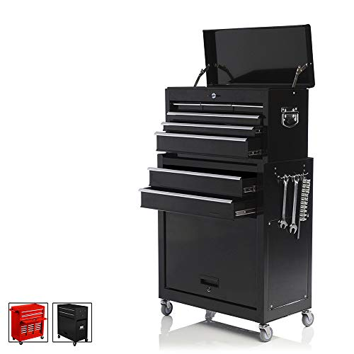 Sunny Deals 2Pcs Tool Storage Box Rolling Tool Box Organizer Portable Top Chest Sliding Drawers Cabinet Keyed Locking System Tool chest £¨Black£