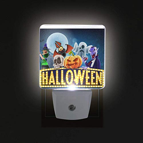 xiaodengyeluwd 2 Pack Halloween Charaters Plug in LED Night Light Auto Sensor Dusk to Dawn Decorative Night for Bedroom, Bathroom, Kitchen, Hallway, Stairs,Hallway,Baby's Room -