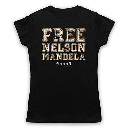 Nelson Mandela Free Nelson Mandela Camiseta para Mujer Negro