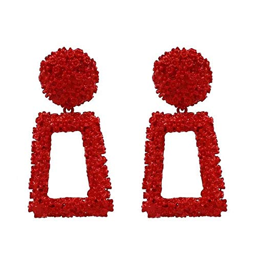 Red Raised Design Rectangle Statement Earrings Fashion Jewelry KELMALL COLLECTION