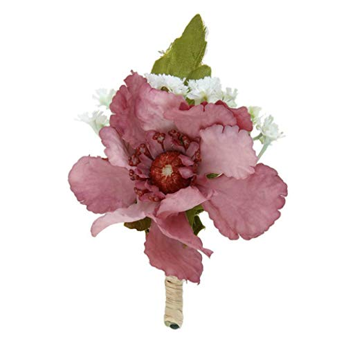 BROSCO Groomsman Wedding Corsage Flower Brooch Groom Boutonniere Wedding Buttonhole | Color - Cameo Brown
