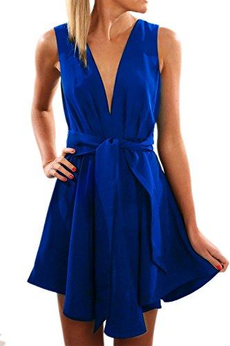 Tiefer VAusschnitt Swing Party Kleid für Damen Blue 8RPkz - ugly ...