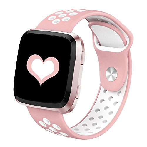 DEKER Sport Bands Compatible for Fitbit Versa Bands Women Men, Small Large Breathable Soft Fitness Sport Silicone Strap Replacement Accessories Wristbands (Pink/White, Small)