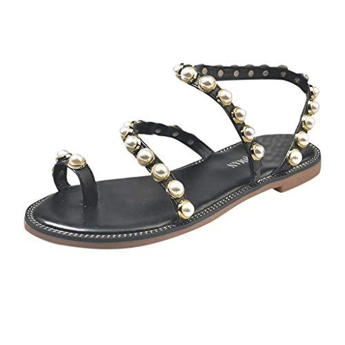 Womens Summer Bohemia Flat Sandals,FAPIZI Beads Pearl Beach Clip Toe Flip Flops Flat Bottom Sandals Shoes Black ()