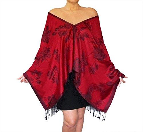 Plus Size Red Pashmina Shawl Poncho Black Rose Scarf By ()