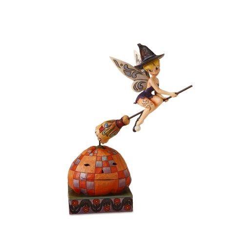 Enesco Disney Traditions by Jim Shore 4016578 Tinkerbell Circling a Pumpkin Figurine, Battery Operated, 9-3/4-Inch -