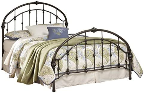 Ashley Furniture Signature Design – Nashburg Metal Bed – Complete Headboard and Footboard with Rails – King – Bronze Finish