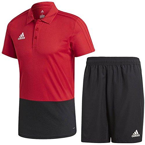 発生器収入献身アディダス(adidas) CONDIVO18 ポロシャツ & ウーブンショーツ上下セット(パワーレッド/ブラック) DJV22-CF3701-DJV27-CF4313