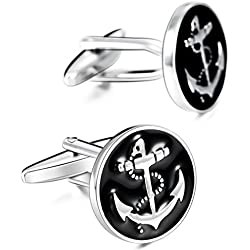 MOWOM Black Silver Tone 2PCS Rhodium Plated Enamel Cufflinks Anchor Nautical Shirt Wedding Business