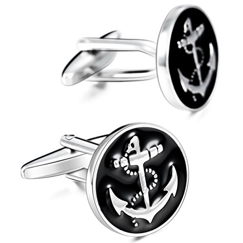(MOWOM Black Silver Tone 2PCS Rhodium Plated Enamel Cufflinks Anchor Nautical Shirt Wedding Business)