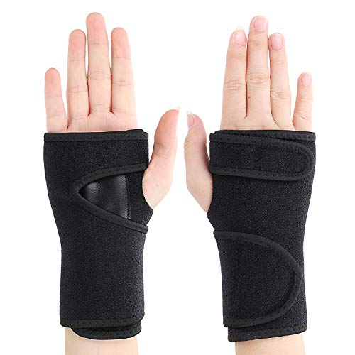 Night Sleep Wrist Brace Wraps with Removable Splint Adjustable Wrist Support Hand Straps Band 1 Pair for Carpal Tunnel, Sports, Gym, Weightlifting, Wrist Arthritis, Night, Strain, Joint Pain Relief (Removable Wrist Strap)