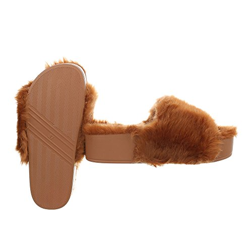 Pantoletten Damenschuhe Ital-Design Sandalen & Sandaletten Camel 836-1