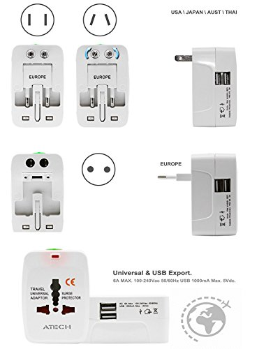 All in One Universal Travel Adapter Worldwide Power Plug Wall AC Adaptor Charger with Dual USB Charging Ports US EU UK AUS NZ AC100-240v Surge Protected Portable International Power Adapter by ATECH (Image #3)