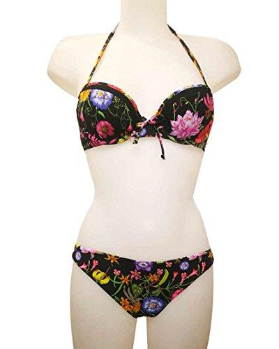 2 donna push nero Verdissima ragazza bikini a up fiori Costume q1nAHwz