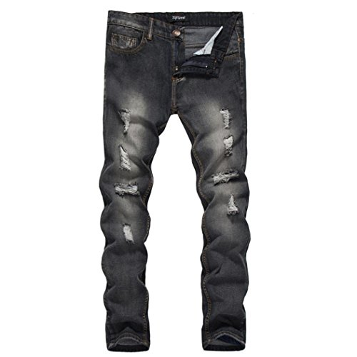 Men Jeans Daoroka Men's Ripped Skinny Slim Fit Vintage Style Straight Hiphop with Broken Holes Motorcycle Pants (L, Black)