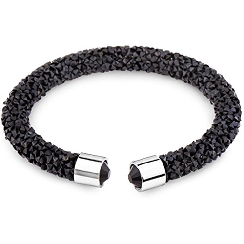 Silver and Post Women's Black Cuff Bracelet Design with Premium Crystals and Crystal dust,, Fancy Burlap Gift Box Included